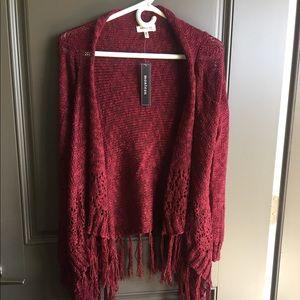 NWT Red Monteau Waterfall Crochet Cardigan Sz S